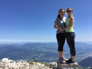 Grace's sister, Katie, and Grace stood on the top of the mountain together! They were thrilled and relieved to make it to the top.