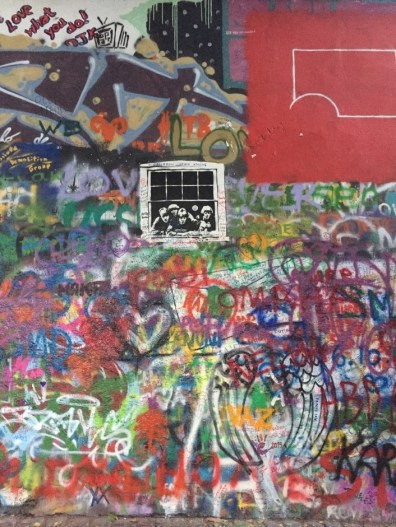View of Lennon Wall, a tribute to Beatle John Lennon