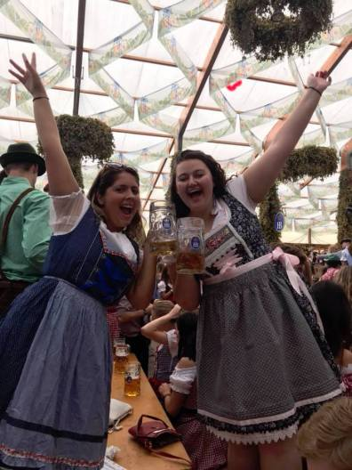 Rachel and I enjoy a beer in our dirndl!