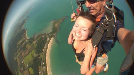 Sara on a sky dive in Mission Beach