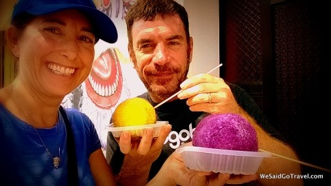 Lisa and George in Penang with Ice Balls