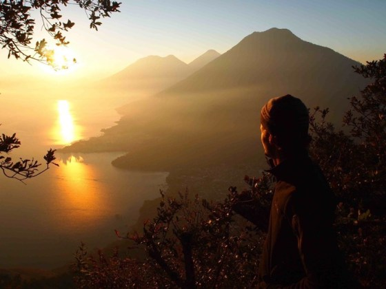Antonio at the top of the Nariz del Indio trail that over looks Lago Atitlan in Guatemala from The Adventure Junkies.