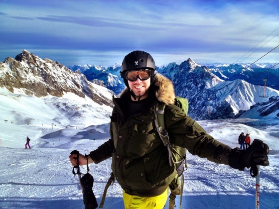 Simon skiing Zugspitze with Simon Heyes of Simons Jam Jar