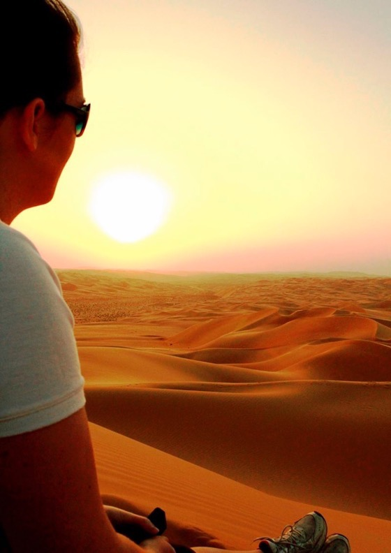 Sunset desert in Abu Dhabi with Anna Parker of Travel with Penelope and Parker