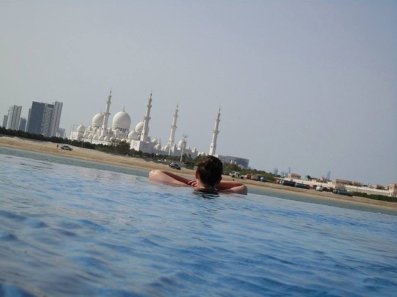 View of the mosque helps passing the hours with infinity pool views