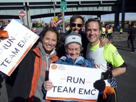 Me my mum and Christy Turlington during the New York City Marathon 2014 with Steve Biggs of Biggsy Travels