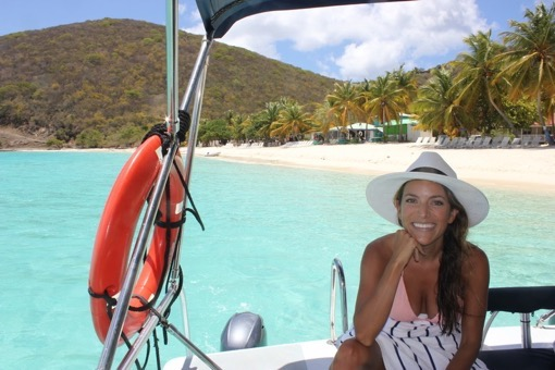 Shannon Kircher of The Wanderlust Effect boating in the Caribbean