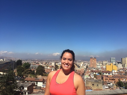 Annneliese Delgado posing in front of La Candelaria, Bogota, Colombia's historic district Abroad in Colombia