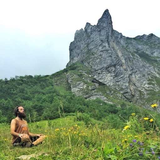 Meditating while hiking in Zakopane Poland with Jub of Tiki Touring Kiwi