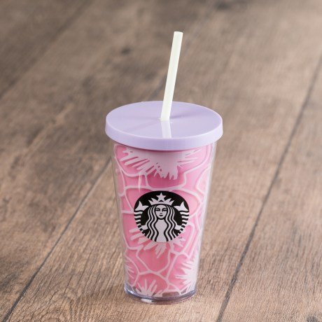 Pink Floral Cold Cup