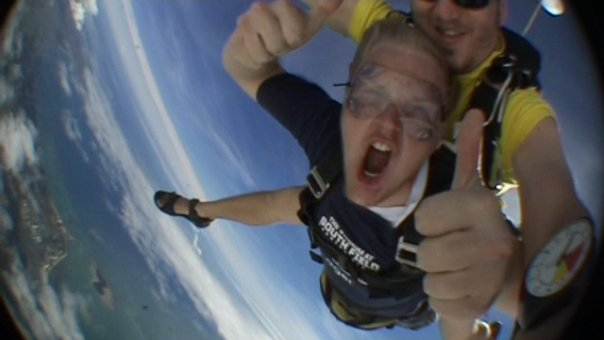 Ben skydiving in Fiji
