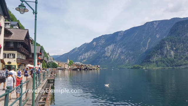Walking along the lake Hallstatt