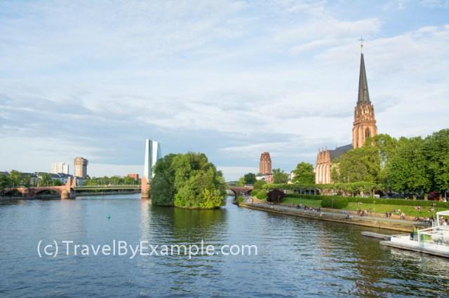 Green riversides of Main in Frankfurt