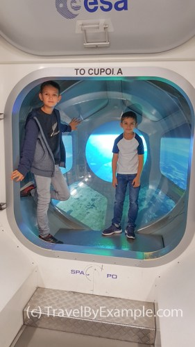 Inside the replica of the European module of the ISS in the Space Expo