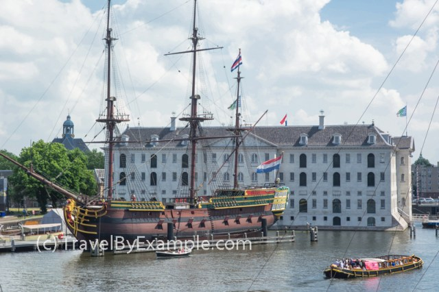 Replica of The Dutch East India Company in front of Amsterdam maritime museum