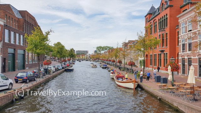 View to the Oude Vest canal in Leiden