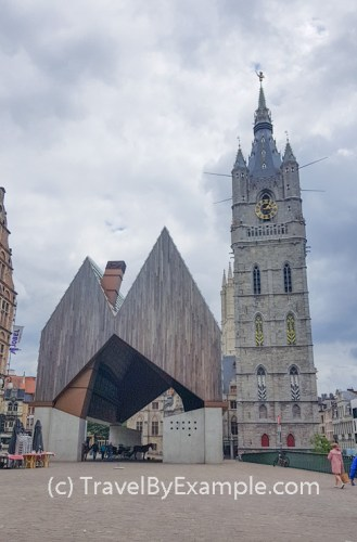 Odd structure of Stadshal (City Pavilion) in Ghent
