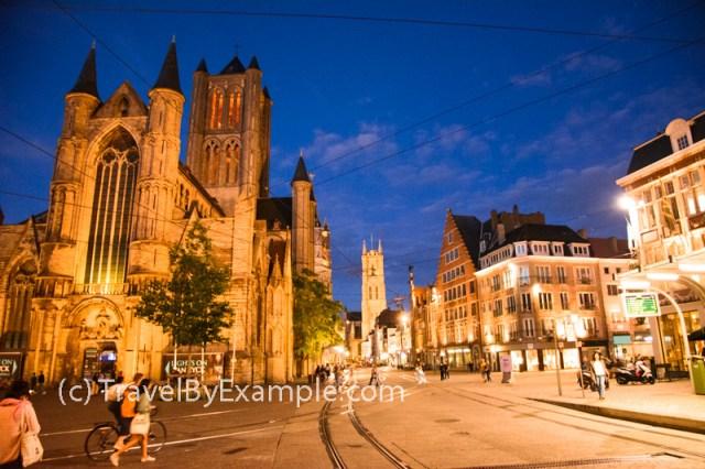 Sint-Niklaaskerk (on the left) at night, Ghent