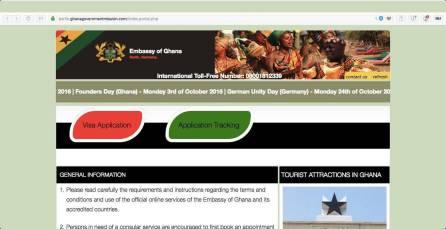 Homepage Ghana visa application
