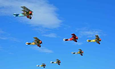 Gaggle of WW1 aircraft take to the sky!! You can't see this anywhere else!