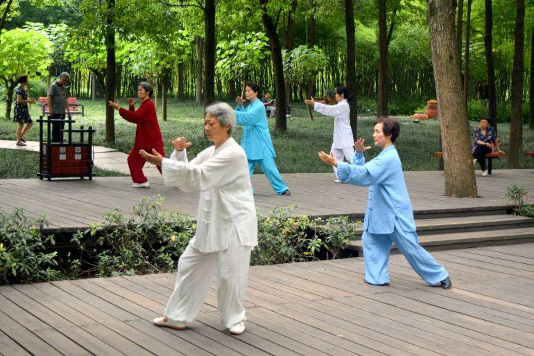 הפארקים הם המקום החביב על הדור השלישי לתרגול טאי צ'י ואומנויות לחימה (צילום: טל ניצן)