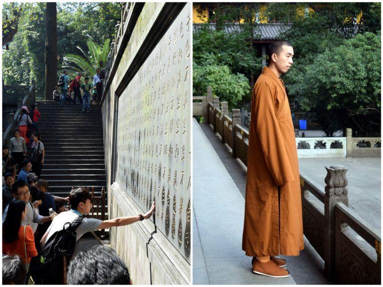 מקדש לינגיין - פעיל עד היום. מימין: נזיר במקדש; משמאל: מאמין משפשף את הקיר למזל טוב (צילום: טל ניצן)