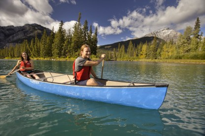 Canoeing in Banff National Park, Alberta.
