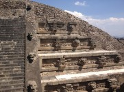 Close up at Templo de Quetzalcoati, one of the Teotihuacan pyramids