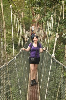 Conquering the canopy walkway at Taman Negara in the Malaysian jungle. After suffering vertigo for years I was so pleased when I convinced myself to do this.