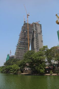 Under construction - an interesting shaped apartment building