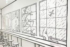 台北101,美食街,2D Taiwan,2D Cafe,黑白繪畫,偽出國,搭飛機,飛機餐