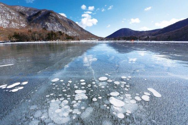 日本,前橋,冬天,冰泡,IceBubble,赤城山,大沼,吉祥物,ころとん
