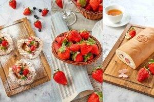 冬天,草莓,草莓塔,草莓甜點,卡士達,蛋糕捲,扭結麵包,歐式麵包