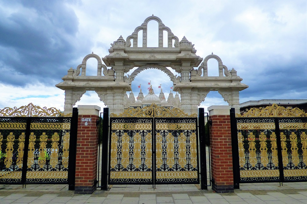 BAPS Swaminarayan Neasden Hindu Temple Entrance Gates, London