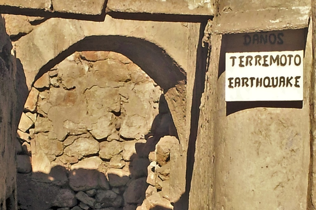 Earthquake damage sign, Santa Catalina Monastery, Arequipa, Peru