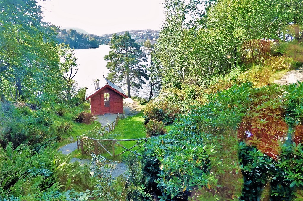 The composer's hut in the grounds of Edvard Grieg's home at Troldhaugen, with a view to the lake