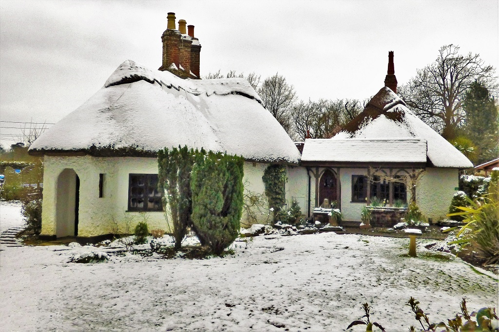 Country cottage in winter