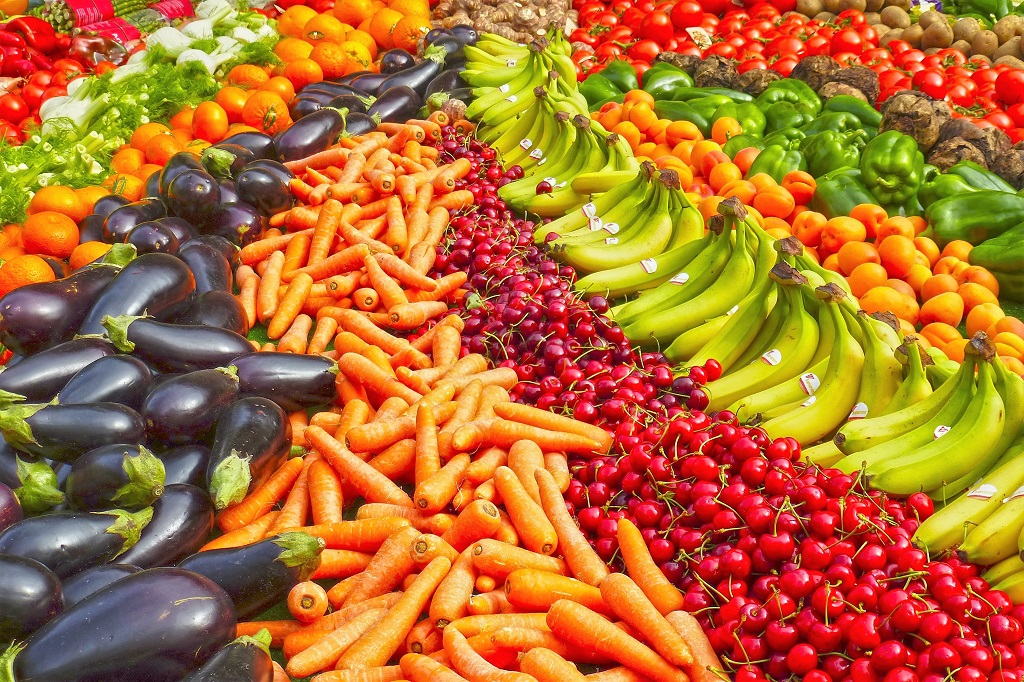 An abundance of fruit and vegetables