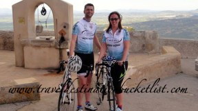 Check out our new matching cycling kit - waiting for our luggage to arrive. San Salvador, Mallorca.