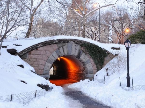 Manhattan, quartiere di New York con la neve