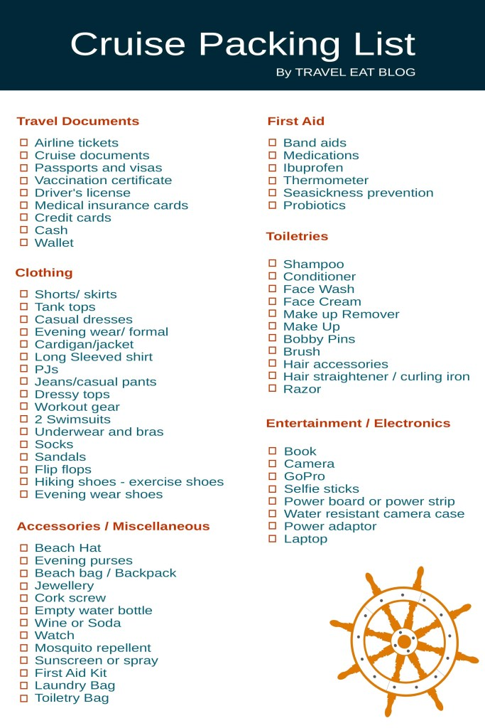 Printable Cruise Packing list