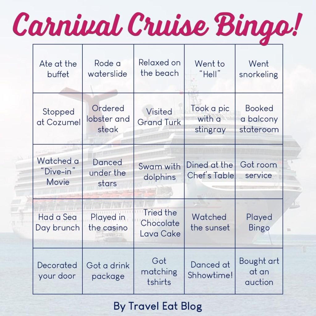 Carnival Cruise Bingo