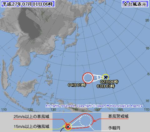気象庁が発表している2015年の台風9号の進路予測について。