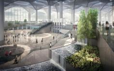 Air terjun mini dirancang untuk maksimalkan kenyamanan ruang terminal - foto: telegraph.uk