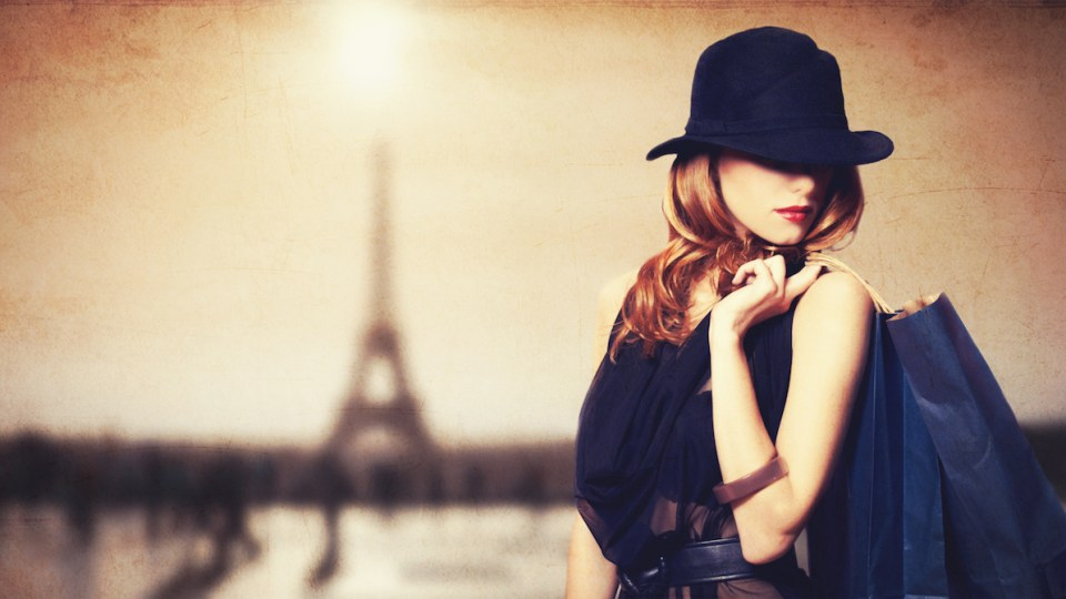 Chic France - Beautiful Woman with Eiffel Tower backdrop