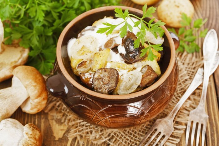 Stewed potatoes with mushrooms and sour cream