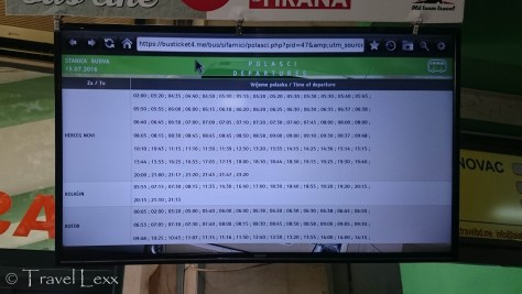 Bus timetable