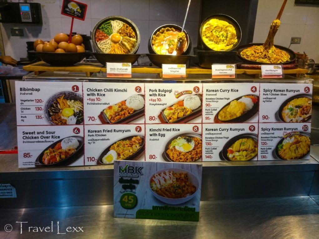 A menu at one of the stalls at MBK Food Island