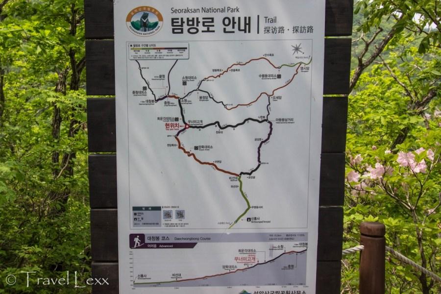 Map of the trails. Seoraksan hike