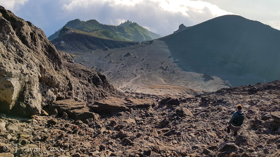 Rocky slopes of an active volcano